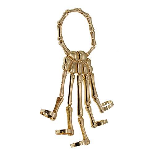 Men Women's Halloween Skull Skeleton Hand Bracelet With Ring (Gold)