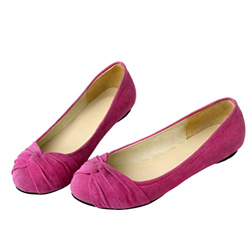 LUXMAX Womens Dolly Shoes Faux Suede Bow Ballet Flats Round Toe Slip On Ballerina Pumps Size 11.5UK,Hot Pink