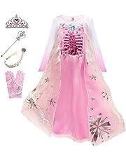 YOSICIL Princesa Disfraz de Princesa Frozen Elsa Disfraces de Princesa Gradiente Fancy Dress Elasticidad niña Lentejuela Impreso Nieve Accesorios con Capas 3-9 años