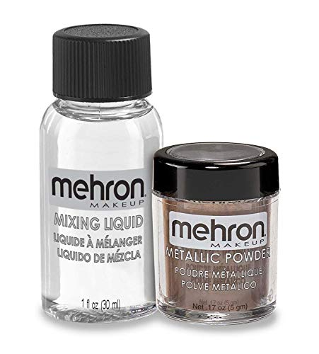 Mehron Makeup Metallic Powder (.17 oz) with Mixing Liquid (1 oz) (BRONZE)