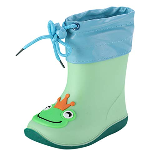 WEXCV Unisex Baby Jungen Mädchen Gummistiefel Kinder Einfarbig Cartoon Ente Verdicken Schnürsenkel Schuhe Kinderschuh rutschfest Wasserdicht Schuhe Regenstiefel (23 EU, I-Grün)