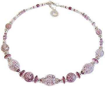 VENEZIA CLASSICA - Collar de mujer gargantilla con perlas de cristal de Murano original, colección Diana, lila con hoja de plata, fabricado en Italia