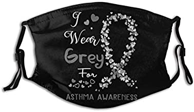 I Wear Grey for Asthma Awareness Support Asthma Warrior Face Mask, Reusable Washable Dustproof with Filters Neck Gaiter Bandanas for Adults Traveling Outdoors Balaclava