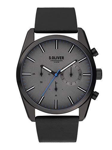 s.Oliver Herren Chronograph Quarz Uhr mit Leder Armband SO-3866-LC