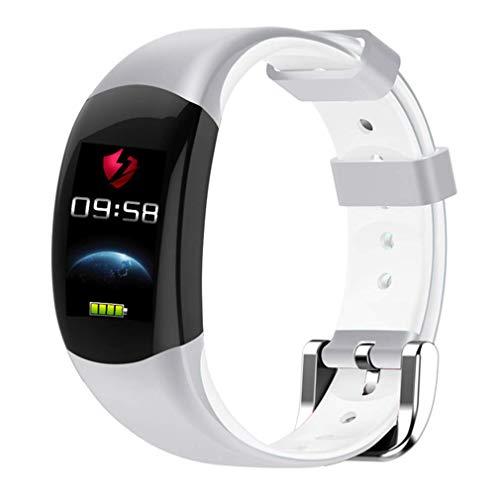 HOMECCLL Smart Armband Farbe LCD Fitness Armband Pulsmesser Fitness Armband IP68 Wasserdicht Schrittzähler Smart Band,White