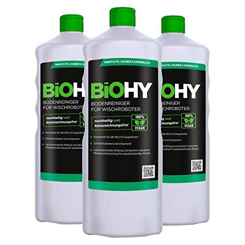 BiOHY Bodenreiniger für Wischroboter (3x1l Flasche) | Konzentrat für alle Wisch & Saugroboter mit Nass-Funktion | nachhaltig & ökologisch