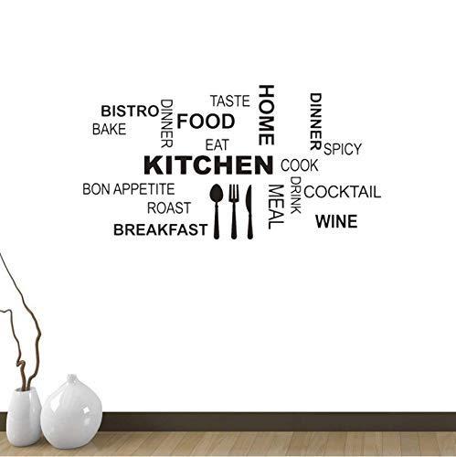 Palabras De Cocina Texto Comida Hornear Comer Cubiertos Decoración Pvc Etiqueta De La Pared 85X44Cm