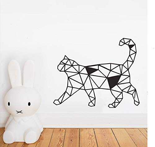 Tianpengyuanshuai Geometrische Katze Design Tier Wandaufkleber Künstler Hauptdekoration Wandtattoo Kinderzimmer Wandkunst 50X60cm