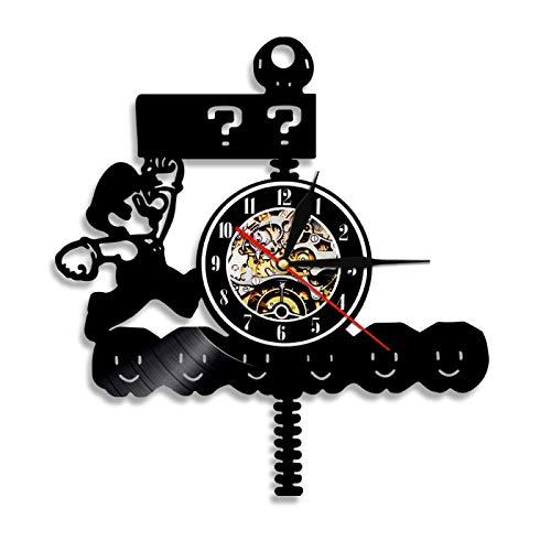 LIMN Reloj de Pared años 80, Ventilador de Juego Retro, Silueta LED, retroiluminación, Registro de Vinilo, Reloj de Pared, atmósfera, decoración Interior del hogar, Regalo Hecho a Mano para niños
