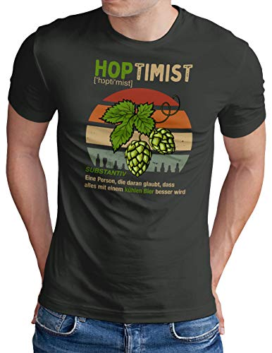 OM3® Hoptimist T-Shirt | Herren | Bierliebhaber Hopfen Bier Fun Party Retro | Dark Grey, S