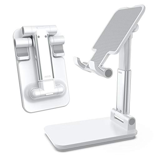 Cell Phone Stand Foldable, Adjustable Tablet Holder Mobile Phone for Desk Compatible with iPhone 11/11 Pro/11 Pro Max/Samsung Galaxy S20/S20 Plus/S20 Ultra/iPad Mini/All Smartphones - Pearl White