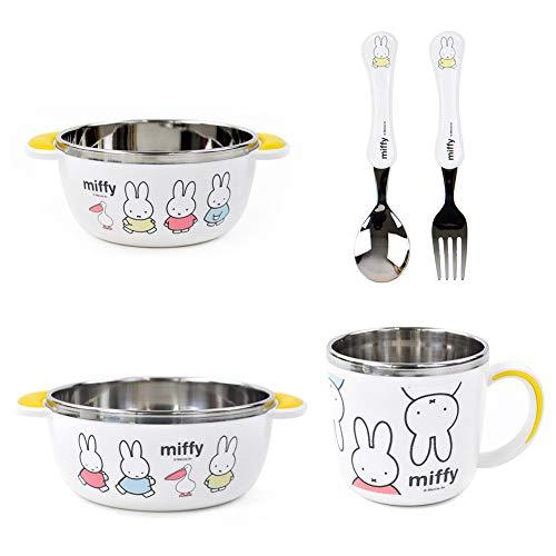 Dongyang Miffy Besteck-Set für Kleinkinder, Edelstahl, mit Löffel, Gabel