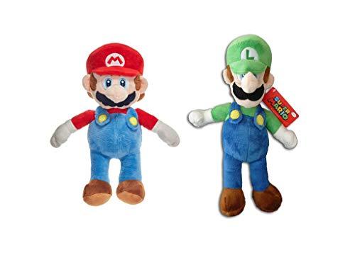 WHITEHOUSE LEISURE Super Mario Bros - Pack 2 Peluches Mario Bros (27cm) y Luigi (30cm) de Super Mario