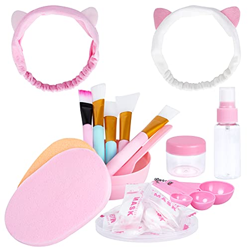 Cepillos de Silicona para Mascarilla Facial Cepillo para Mascarilla de Barro Facial Y Diadema para La Cara, Cosmética, Máscara De Ojos, Suero o Bricolaje