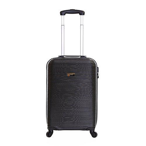 Karabar Hard Cabin Carry-on Hand Luggage Suitcase Bag 55 cm 2.5 kg 35 litres 4 Spinner wheels, Grantham Black