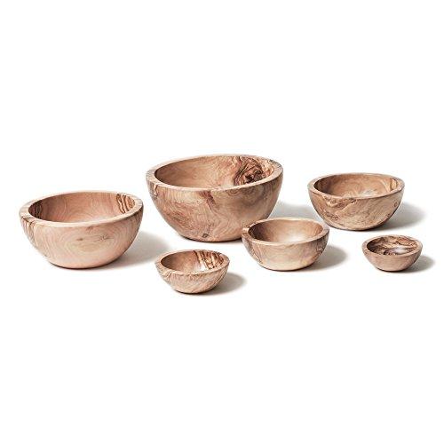 Berard 89670, Set de 6 coupelles en bois d'olivier et fait-main, idéal salades et apéritifs- 6-16 cm