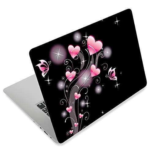 """Laptop Skin Sticker Decal,12"""" 13"""" 13.3"""" 14"""" 15"""" 15.4"""" 15.6 inch Laptop Vinyl Skin Sticker Cover Art Protector Notebook PC (Free 2 Wrist Pad Included), Decorative Waterproof Removable, Pink Hearts"""
