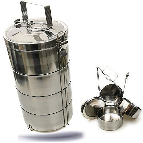 Kerafactum Essenträger Edelstahl Etagen Behälter Transportbehälter mit 3,6 Liter Volumen 4 Box für Essen ideal als Indian Lunchbox Speisenbehälter zum Warmhalten Wärmebehälter Henkelmann