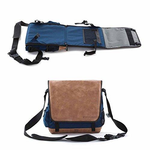 EVENaBAG Umhängetasche mit Campingsitz, Picknickmatte & Wickeltasche in Blau | Echtleder Schultertasche für Herren & Damen | Laptoptasche kompatibel bis 15 Zoll