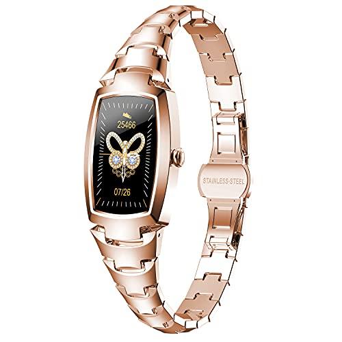 PHIPUDS Smartwatch Mujer, Reloj Inteligente Impermeable IP67 con Smart Watch Monitor de Sueño Pulsómetros Cronómetros Contador de Caloría,Control de Musica, iOS y Android Oro