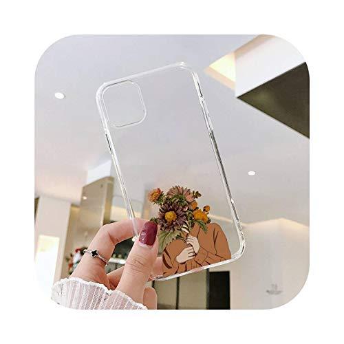 Sunflower Girl - Funda transparente para iPhone 11 12 mini Pro XS MAX 8 7 6 6S Plus X 5S SE 2020 XR-a5-iPhone11PROMAX