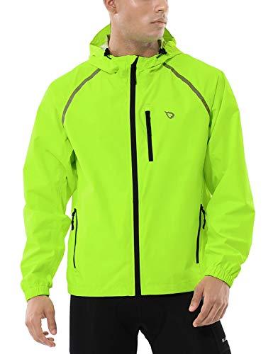 BALEAF Men's Cycling Running Jacket Waterproof Reflective Lightweight Windbreaker Windproof Bike Jacket Hooded Fluorescent Yellow Size M