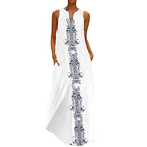 Saoye Fashion Été Maxi Poches V-COU Sans Manches Imprimé Floral Vintage Robes Vêtements de Fiesta Femmes Robe Dames Mode Élégante Longues Robes D'Été