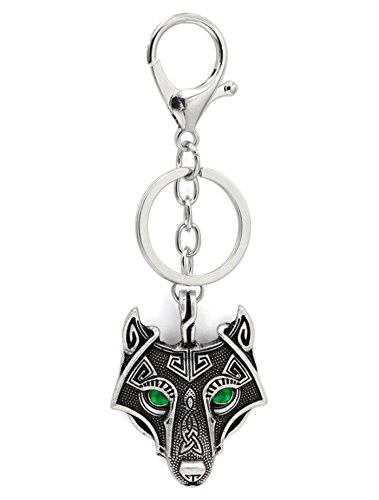 Viking Odin Wolf Emerald Green Eyes Pendant Key Rings Key Chains Antique Silver Metal Scandinavian Knot Raven Mjolnir Norse Celtic Nordic Rune Talisman Saxon