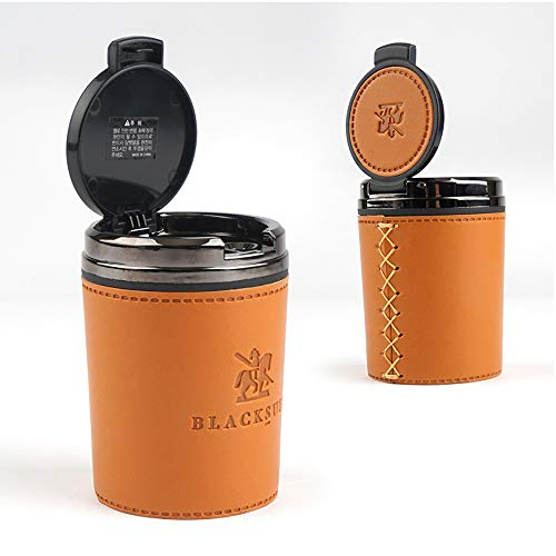 Luxury Leather Ashtray for Car Ashtray Easy Clean Up Detachable Most Car Cup Holder Type 3 Color (Orange Brown)