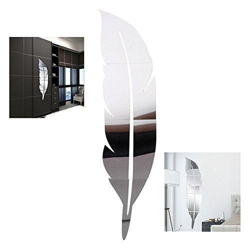 XLKJ 3D Specchio Adesivo da Parete in Acrilico,Decorazione Acrilico Specchio Adesivo Piuma Argento Removibile Bagno della Stanza Decorato per La Casa