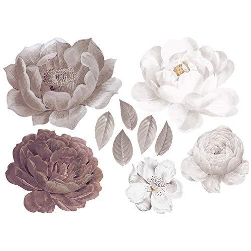 yabaduu YX020 Wandtattoo Blumen Wandfolie Dekor für Wohnzimmer Schlafzimmer Kinderzimmer 80x58cm (Mauve)