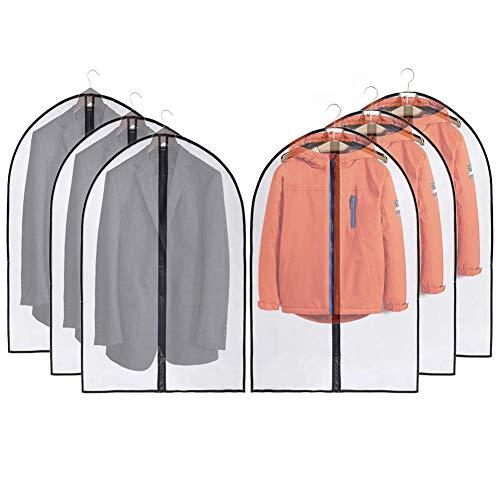 JSF Fundas Ropa para Vestidos, Bolsa para Trajes Transparente para Camisas, Disfraces y Chaqueta, Juego de 6 Cubiertas de Ropa PEVA Anti-Polvo y Impermeable con Cremalleras, 100 (Blanco)