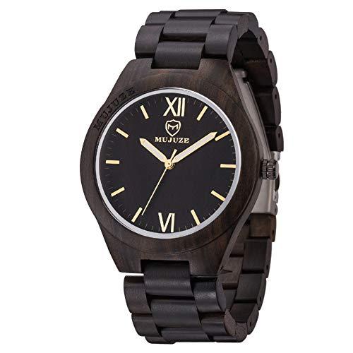 SYLL Relojes de Madera Relojes de Pulsera para Hombres Reloj de bambú de Madera para Hombres Correa de Madera Reloj de Cuarzo Regalo para el Marido,Ebony