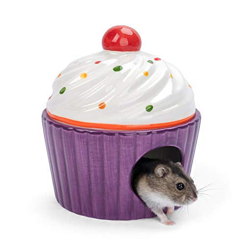Niteangel Ceramic Dwarf Hamster House: - Cute Small Hideout & Cool Bed for Robo Hamsters Gerbil Mice or Other Similar-Sized Small Animals (Purple)