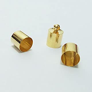 50pcs Glue-in Style Necklace Cord Crimp End Caps tassel caps beads crimps end (6mm wide, 10mm long, KC gold plated)