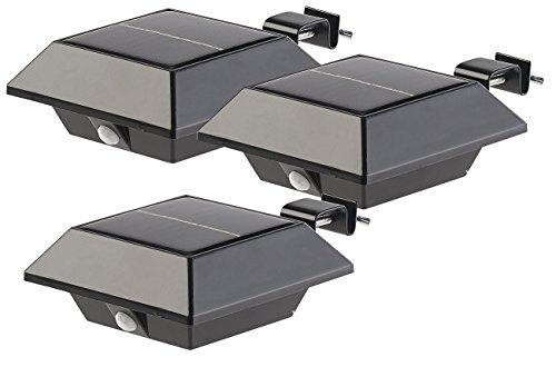 Lunartec Dachrinnenlampe: Solar-LED-Dachrinnenleuchte, 160 lm, 2 W, PIR-Sensor, schwarz, 3er-Set (Dachrinnenbeleuchtung Solar)