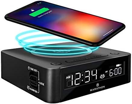Marathon Wireless Fast Dual Charging Clock Colour LED Digital Display with Alarm Clock Qi Wireless product image