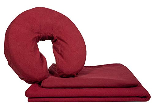 Deluxe Flannel Massage Table Sheet Set by NRG - 3 Piece Set Includes Face Cradle Cover, Flat Massage Sheet and Fitted Massage Sheet - 100% Double Brushed Cotton - Soft, Durable - Color: Merlot
