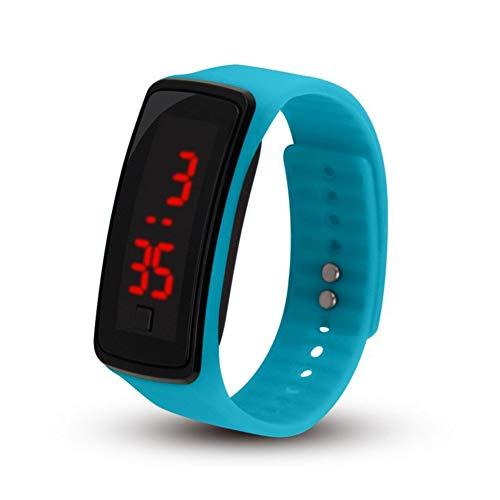 Reloj de pulsera de silicona LED deportivo digital resistente al agua para niños y niñas, hombres y mujeres, reloj de pulsera de silicona azul claro (batería incluida)