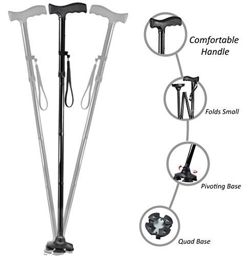 small Folding Medikane Travel Cane, 4-legged swivel base, adjustable high cane (middle)
