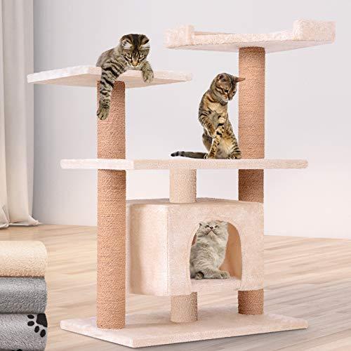 Leopet Kratzbaum zum Spielen, Schlafen und Relaxen - 89cm Hoch, Farbwahl - Katzenkratzbäume, Katzenkratzbaum, Katzenbaum, Kletterbaum