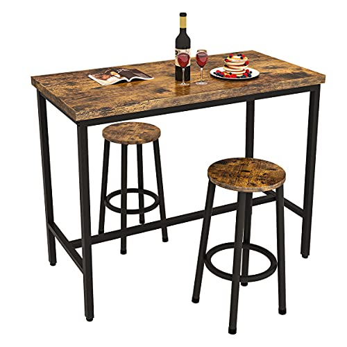 Recaceik 3 Piece Pub Dining Set, Modern bar Table and Stools for 2 Kitchen Counter Height Wood Top Bistro Easy Assemble for Breakfast Nook Living Room Small Space Restaurant, Rustic Brown 39