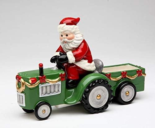 Fine Ceramic Santa Riding Tractor with Pepper Large-scale sale Shakers Salt Sug Nashville-Davidson Mall