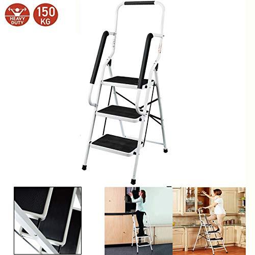 Autofather Stehleiter Stahl Trittleiter 3 Stufen Leiter mit Geländer Stepladder Tritthocker Faltbarer Haushaltsleiter, Sicher und Kompakt