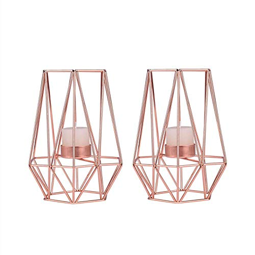 Fautly Metal Candle Holder, 2Pack Iron Geometric Tea Light Candle Holder Vintage Hollow Candlestick Art Ornaments for Wedding Party Home Decoration (Rose Gold)