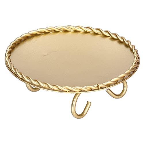 AUNMAS Bandeja de Almacenamiento de Joyas para Collar, decoración de Escritorio para el hogar, Manualidades, Bandeja Redonda para joyería de decoración de Metal, Dorado