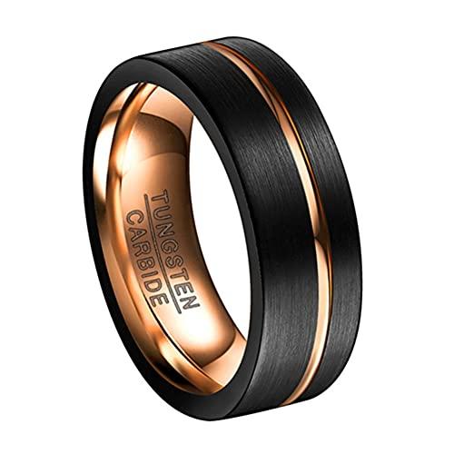 Corato Anillo de boda de carburo de tungsteno negro de 8 mm con ranura de oro...