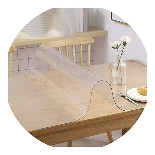 JXFS Protector De Mesa Material Impermeable Transparente,Protector PVC para Mesas Cocina,Impermeable Resistente Al Desgaste Resistente Al Calor,Apto para Cocina JardíN(Color:1mm,Size: 75x135cm)