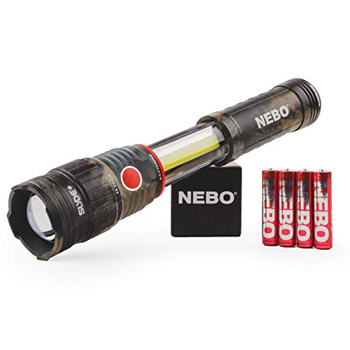 400-Lumen Handheld Work Light Flashlight: Chip on Board (COB) Technology; Red Light Mode and Red Flashing Light Mode; 4x Adjustable Zoom with Magnetic Base - NEBO Slyde+ 400 Camo – 6797