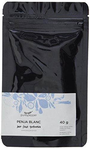 Pure Pepper - Penja Blanc - 40g - ganzer weißer Pfeffer aus Kamerun - sortenrein handgepflückt - Jahrgangspfeffer in bester Qualität | Nachfüllpack
